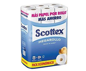 Scottex Papel higiénico mega rollo (más papel por rollo, 30 rollos de tipo mega rollo equivalen a 60 rollos standard) 30 rollos