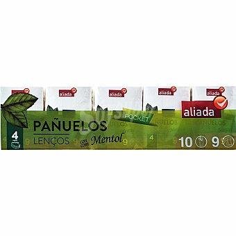 Aliada Pañuelos Pocket con mentol 4 capas Paquete 10 unidades