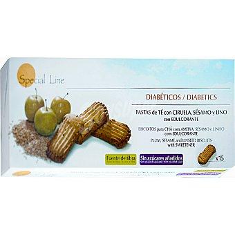 Special Line Pastas de té con ciruela sésamo y lino con edulcorante Diabéticos 15 unidades