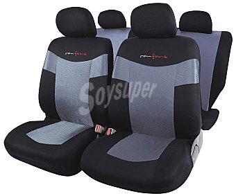 ROLMOVIL CONFORT Juego de fundas para asientos de automóvil de talla única y fabricadas en poliester de alta calidad, de color negro y gris Confort.