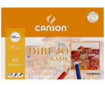 Canson Bloc de dibujo con 10 hojas de y de 29x42 cm, canson 130 gramos