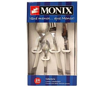 MONIX Cuberteria de 24 piezas modelo Europa, fabricada en acero inoxidable 10/18 con grosor de 2 milímetros 24 piezas
