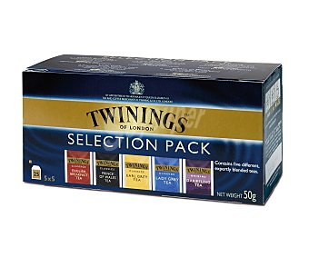 Twinings Pack de té con diferentes orígenes (english breakfast, earl grey, lady grey, darjeeling y prince of wales) 25 unidades