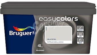 BRUGUER Pintura plástica acrílica decorativa, de color aluminio, de la serie Easy Colors 4 litros