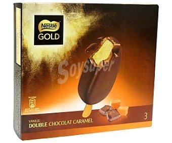 Gold Nestlé Bombón Helado Sabor Vainilla Recubierto de Doble Chocolate y Caramelo 3 Unidades de 100 Mililitros