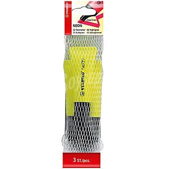 STABILO Neon Fluorescentes en color amarillo Pack de 3