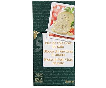 Auchan Bloc de foie gras de pato 2 unidades de 40 gramos