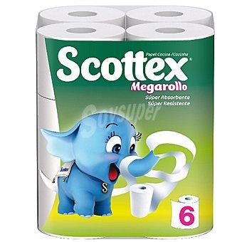 Scottex Rollos de cocina Megarollo super absorbente Paquete 6 unidades