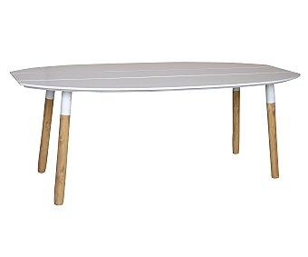 Ikone Mesa oval con estructura metálica de color blanco, patas de madera y encimera de fibra de cemento con muy bajo mantenimiento de color blanco y medidas de 200x95x75 centímetros 1 unidad