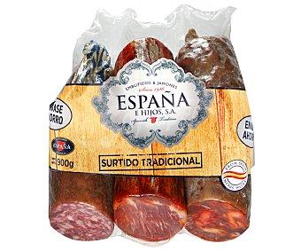 ESPAÑA Lote embutidos Compuesto de chorizo+salchicha cular+lomo embuchado 900 gramos