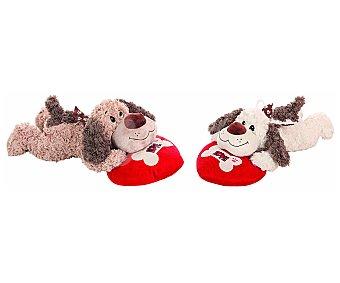 Llopis Perro tumbado de peluche con corazón, 50 centímetros, varios modelos 1 unidad