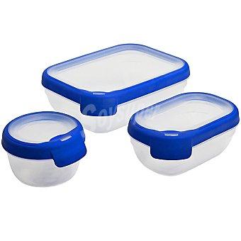 CURVER Grand Chef Herméticos tapa transparente y azul set de 3 unidades 3 unidades
