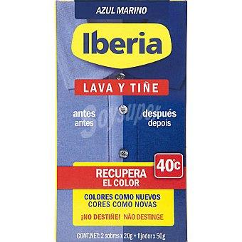 Iberia Tinte para ropa lava y tiñe recupera el color azul marino Bote 1 unidad