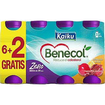 KAIKU BENECOL ZERO Yogur líquido sabor granada y limón pack 6 unidades 65 ml + 2 unidades gratis Pack 6 unidades 65 ml