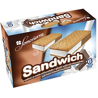 Somosierra Helado sandwich nata y chocolate Pack 6 uds