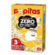 Palomitas de maíz al punto de sal zero materia grasa añadida micro Caja 3 paquetes x 70 g Popitas Borges