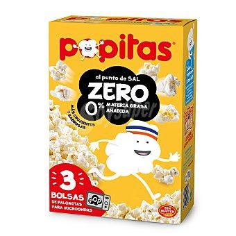 Popitas Borges Palomitas de maíz al punto de sal zero materia grasa añadida micro Caja 3 paquetes x 70 g