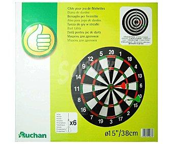 Productos Económicos Alcampo Diana tradicional con 6 dardos y un juego en cada cara, 38 centímetros de diámetro 1 unidad