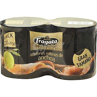 Fragata Selección aceitunas rellenas de anchoa gran tamaño neto escurrido Pack 2 latas 85 g