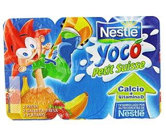 Nestlé Yoco Petit Suisse Surtidos: Fresa, Plátano y Galleta-Fresa 6x 55g