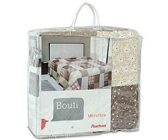 Auchan Boutí de microfibra modelo Patchwork color Marrón para cama doble, 250x260 centímetros 1 Unidad