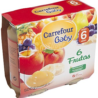 Carrefour Baby Tarrito 6 frutas Pack 2x250 g