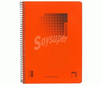 PACSA Cuaderno de tamaño cuartilla, con cuadricula de 4x4 milímetros, margen izquierdo, 80 hojas de 80 gramos, tapas de polipropileno de alta resistencia y microperforado con encuadernación con espiral metálica 1 unidad