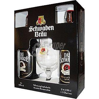 Schwaben Bräu cerveza negra alemana pack 2 botella 50 cl con regalo de una copa Pack 2 botella 50 cl