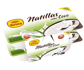 Reina Natillas sabor coco, sin gluten Pack 4 Unidades de 125 Gramos