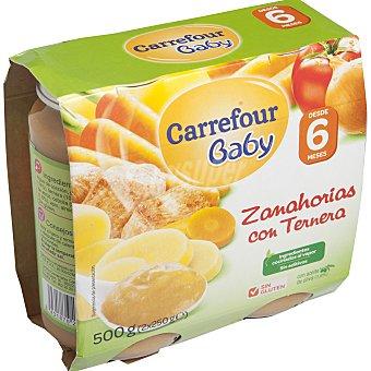 Carrefour Baby Tarrito de zanahorias con ternera Pack 2x250 g