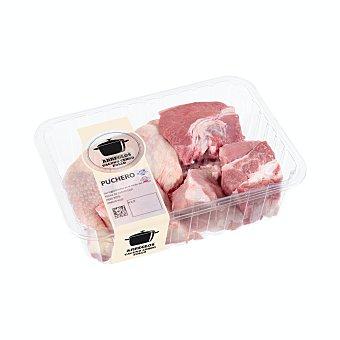 Arreglo puchero fresco (carne, hueso y costilla de añojo, pollo, hueso cerdo y tocino), varios, bandeja 1 Kg aprox(peso aproximado de la ) Unidad 1000 gr