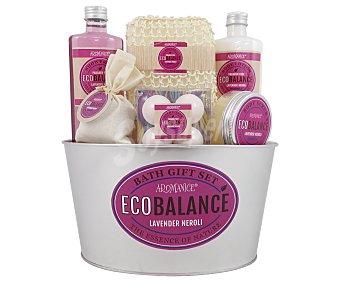 Gloss Cesta de baño metálica con productos de belleza corporal aroma a lavanda, Eco Balance 1 unidad