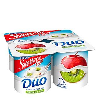 Sveltesse Nestlé Duo yogur desnatado 0% m.g.0% azúcares añadidos con manzana y kiwi Pack 4 unidades 125 g
