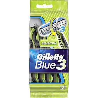 Gillette Maquinilla de afeitar desechable Blue 3 Sensitive bolsa 12 unidades pack ahorro Bolsa 12 unidades