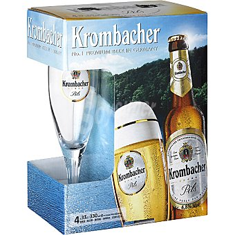 Krombacher Cerveza rubia alemana pack 4 botella 33 cl Pack 4 botella 33 cl