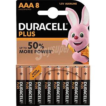 Duracell Pila plus power alcalina AAA (lr3 - mn2400) 1,5 voltios blister 8 unidades 8 unidades
