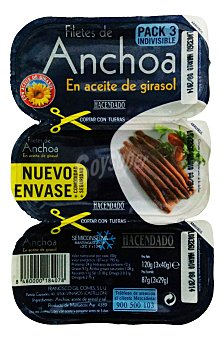 Hacendado Anchoa filete aceite girasol Pack 3 u - 87 g