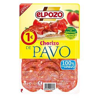 ElPozo Chorizo de pavo lonchas Envase 80 gr