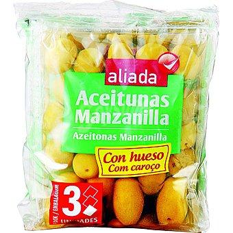 Aliada Aceitunas manzanilla con hueso pack 3 envases 100 g neto escurrido Pack 3 envases 100 g