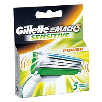 Gillette Mach3 Cargador Power Sensitive 5 ud