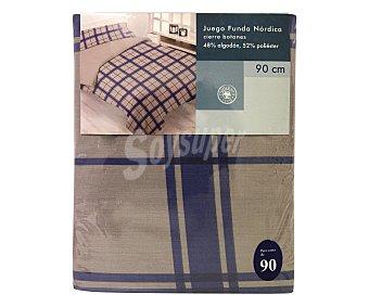 Auchan Funda para relleno nórdico a cuadros, color azul, 90 centímetros 1 Unidad