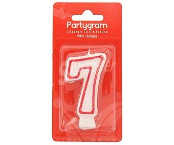 Partygram Vela de cumpleaños número 7 con filo color rojo 1 unidad