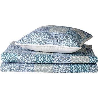 CASACTUAL Bouti Patchwork colcha azul y gris para cama 135 cm