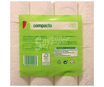 AUCHAN Papel higiénico compacto 32 Unidades