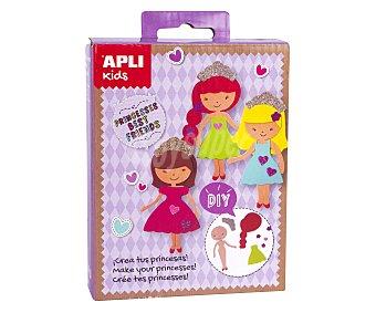 APLI Kit que consiste en crear 3 princesas a base de piezas de goma Eva pre-cortadas apli