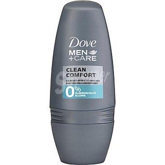 Dove Men desodorante roll-on Clean Comfort 0% alcohol 0% sales de aluminio envase 50 ml envase 50 ml
