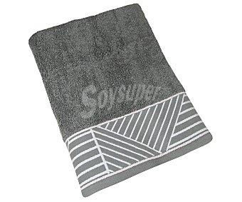 Actuel Toalla de baño 100% algodón color gris con cenefa de rayas, /m² actuel 450 g