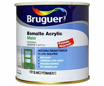 BRUGUER Esmalte acrílico de color blanco y acabado mate 0,25 litros
