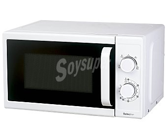 SELECLINE MMW50P Microondas selecline 818556 (producto económico alcampo), color blanco, capacidad 20 litros, potencia 700w, ancho: 44cm, alto: 35cm 20 litros