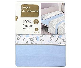 Auchan Juego de sábanas de 3 piezas 100% algodón color azul estampado flores para cama de 135 centímetros 1 unidad